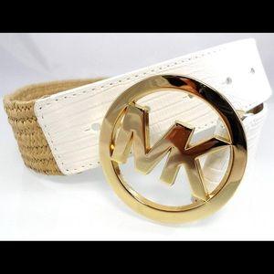 Michael Kors White Poly Stretch Straw Leather Belt